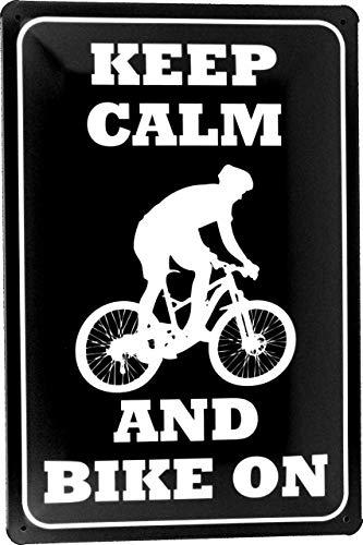 Tin Sign Blechschild 20x30 Keep Calm and Bike on Bleib ruhig fahr Mountainbike Fahrrad Dirt Downhill Gravity Freeride MTB Radsport Freizeit Sport