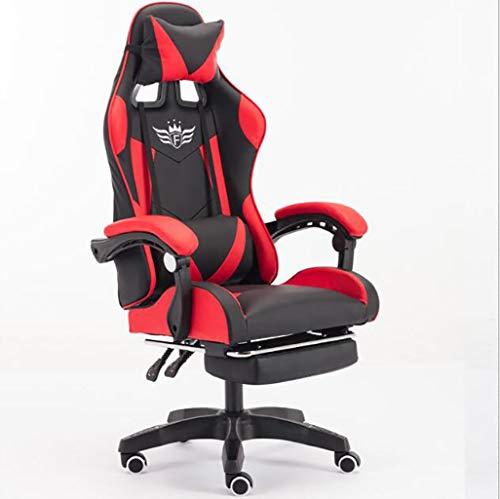 JSHFD Butaca for Video Juegos, Computerstuhl, Home-Office-Stuhl, 90-155 ° en jedem Winkel fixiert, anhebbarer und Liegender Racing-Rennstuhl (Color : Red, Size : One Size)