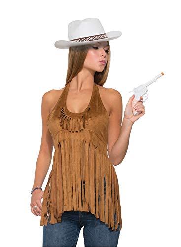 shoperama Damen Neckholder Top mit Langen Fransen Braun Indianerin Cowgirl Hippie Gr. 34/36 Western 60er 70er