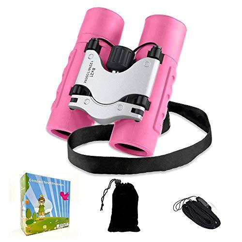 Yodaoo Kids Binocular 8 X 21 Shockproof Compact Binoculars for Kids High Resolution Optics Telescope Gifts for Children Age 3-12 for Hiking,Bird Watching &Scenery,Explore (Pink)