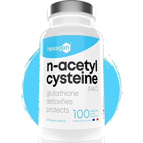 NAC N-Acetyl-Cysteine 600mg - Jusqu'à 3 Mois De Cure - Antioxydant & Détoxifiant - Made in France - Boost Glutathion - Detox Foie & Protection - 100 Gélules Végétales - Vegan - Sans Additifs - Hexagon