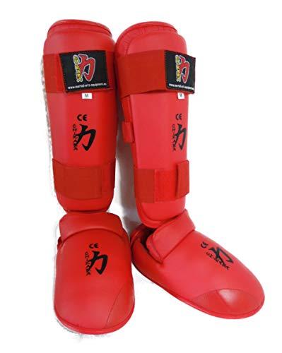 Chikara Karate Fußschutz, Spannschutz, Fussschutz, Schienbein und Spannschutz (Rot, XS)