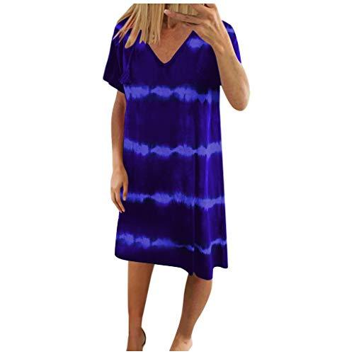 Willow S Womens Casual Striped Tie-Dye Print Mini Dress V Neck Loose T-Shirt Dress(S-3XL) Dark Blue