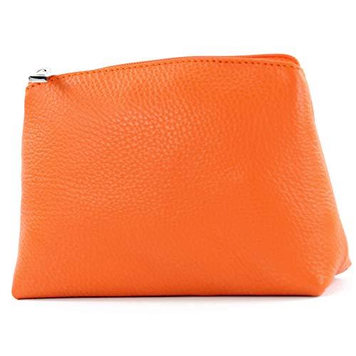 modamoda de - T212 - ital. Leder Kosmetiktäschchen Maskenetui Klein, Farbe:Orange