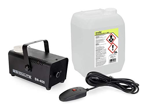 Showlite SN-400 Nebelmaschine 400W mit Fernbedienung und Nebelfluid (Nur 3 Minuten Aufwärmzeit, 40m³/min Nebelausstoß, 3,5m Sprühdistanz, 5L Nebelflüssigkeit inklusive) schwarz