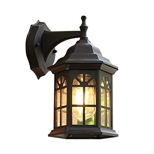 Mengjay Außenlampe Vintage schwarz Wandlampe Wasserdicht IP23 Aluminiumguss Aussenleuchte Retro E27 Landhaus Gartenlampe Hauseingang Hoflampe Eingangs Außen-Wandleuchte