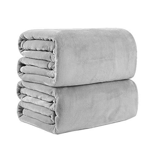 Bear & Panda Flannel Fleece Throw Blanket G Large Travel Sofa Bed Blankets Super Soft Fluffy Warm Thick Throws Microfibre Blankeyrey (Grey, 200 x 240 cm)