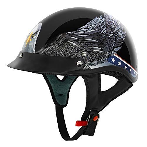 VCAN Cruiser NEW Patriotic Eagle USA Graphics Motorcycle Half Helmet (Gloss Black New Eagle, Large)