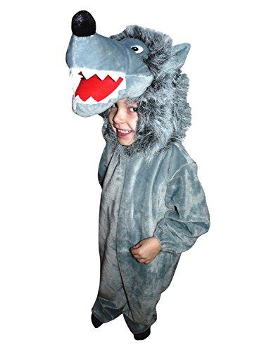 Ikumaal F49 Taille de 94-108 Confortable à Porter Costume de Loup pour Les Tout-Petits et Les Enfants, Wolf Costume sur Les vêtements réguliers