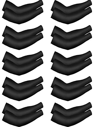 10 Pairs Cooling Sun Sleeves UV Protection Arm Sleeves Arm Cover Sleeve for Men Women (Black, Ice Silk)
