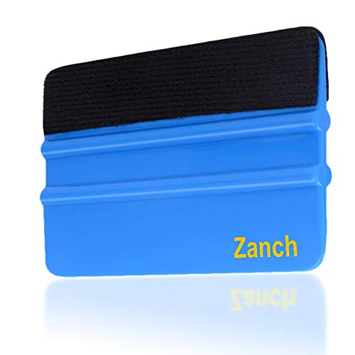 Zanch Blue Felt Squeegee Tool Vinyl Squeegee Graphic Decal Wrapping Car Film Wrap Scrape Wallpaper Installing Window Tint Craft Scraper with Black Fabric Felt Edge 1Pcs …