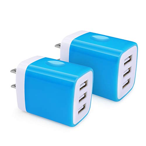 Zsmzzd USB Wall Charger, 2Pack Wall Plug 3.1A 3-Multi Port USB Charger Adapter Charging Block Cube Brick Compatible iPhone 11 Pro/XR/XS/X/8/7 Plus, iPad, Samsung S20 FE S10 S9 S8+ A80 A71 Note20 Ultr