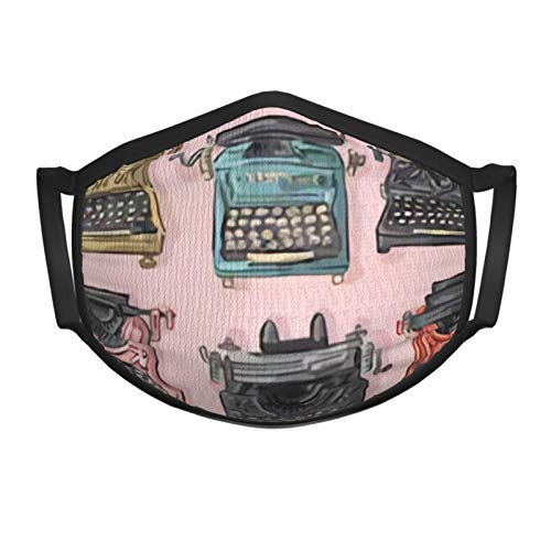 Antique Vintage Typewriter Writer Face Mask for Kids and Toddlers Made of Washable Reusable 100% Cotton Fabric,Adjustable Ear Straps Metallic