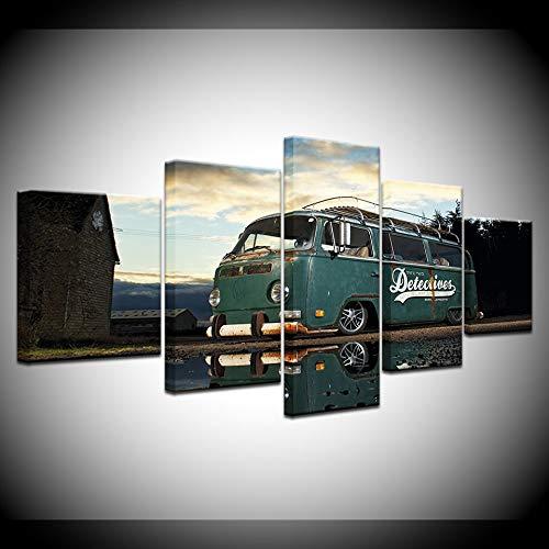 nobrand 5 canvasdruk Artwork Home muurkunst decoratie foto's HD afdrukken 5 stuks Retro Volkswagen bus auto schilderij op canvas retro poster