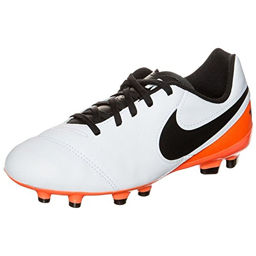 Nike Jr Tiempo Legend Vi FG, Botas de fútbol Unisex niños, Blanco (White/Black-Total Orange), 37 1/2 EU