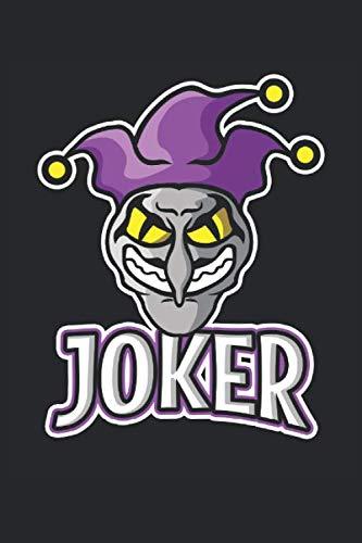 Joker: Böser Joker Clown E-Sports Maskottchen Geschenke Notizbuch liniert (A5 Format, 15,24 x 22,86 cm, 120 Seiten)