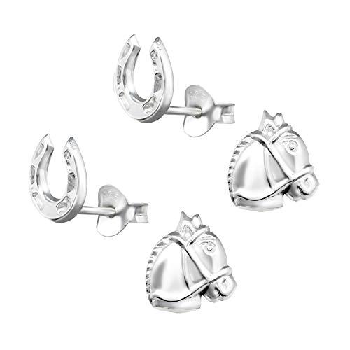 2 Paar Kinder Pferde und Hufeisen Ohrstecker 925 Silber Ohrringe Ohrschmuck für Mädchen
