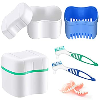 2 Denture Bath Cases with 2 Denture Cleaner Brushes Denture Boxes Dentures Container with Basket Denture Holder Brush Retainer Case for Travel Retainer Cleaning  Lake Blue Light Green Blue Green