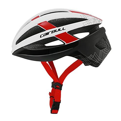 XJPB Casco de Bicicleta de Ciclismo para Hombres para Hombres, Casco Ligero Ajustable, con luz de Advertencia de Carga USB,Rojo