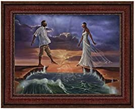 The Art Depot Step Out on Faith: Love by Kevin WAK Williams (17.25x25.25 inches - Brown Frame)