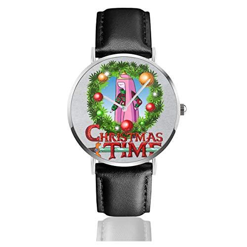 Unisex Business Casual Adventure Weihnachten Time Kranz Prinzessin Bubblegum Cartoon Network Uhren Quarz Leder Uhr mit schwarzem Lederband für Männer Frauen Junge Kollektion Geschenk