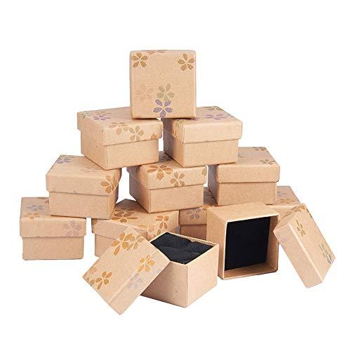 BENECREAT - Paquete de 12 Paquetes de Caja de Regalo con Espuma e Inserto de Terciopelo Pequeno Regalo rigido Caja de joyeria para Anillos y Pendientes, 4,9 x 4,9 x 3,5 cm