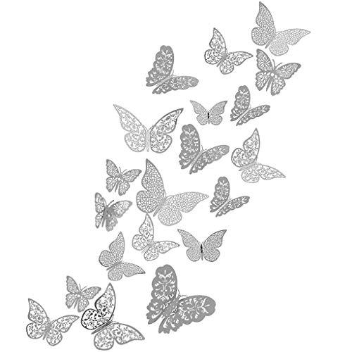 48 Stück Schmetterling Wandaufkleber, 3D Abnehmbar Schmetterlinge Fliegen Dekor Metallisch Wandtattoo mit Klebepunkten für Hauptdekorationen Kinder Schlafzimmer Kindergarten Deko(Silber)