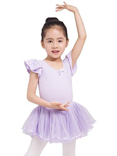 Dancina Leotards For Girls Cap Sleeve Full Front Lining 5 Lavender