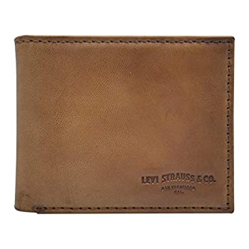 Levi s Men s 100% Synthetic Leather Lining Extra Capacity Slimfold Wallet Turlock Tan One Size