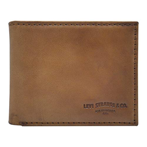Levi's Men's 100% Synthetic Leather Lining Extra Capacity Slimfold Wallet, Turlock Tan, One Size