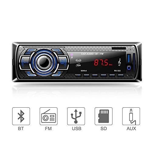 Aigoss Autoradio Bluetooth, Control Remoto Manos Libres FM Estéreo de Coche 60W x 4, Apoyo de...