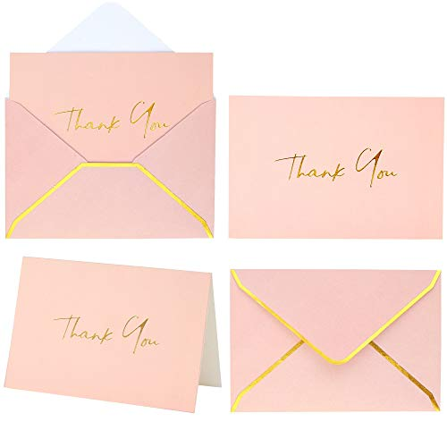 Pink Thank You Cards with Envelopes - 36 PK Baby Shower Card with Gold Foil Letterpress 4 x 6 Inches, Thank You Notes Blank Note Cards for Wedding Bridal Shower Business Girl Kids