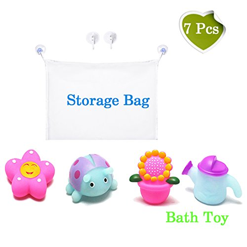 Mesh Bath Toy Organizer with bath toy | Storage Net Bag for Bathtub Toys| Bonus Heavy Duty Suction Hooks| bathroom Storage | These Multi-Use Organizer Bags Make Bath Toy Storage Easy