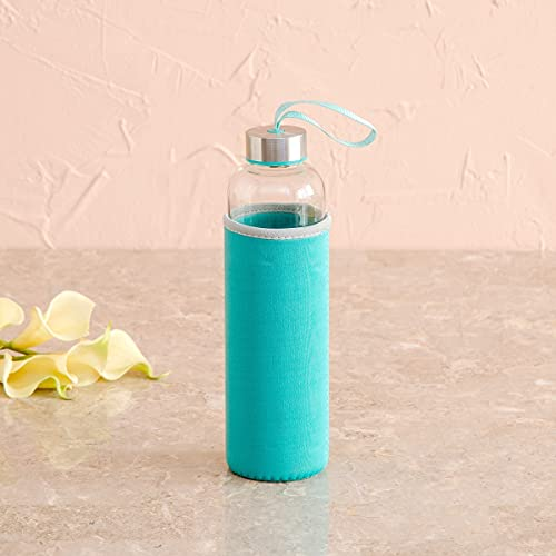 Home Centre Favola-Cyprus Glass Water Bottle with Pouch - 600 ml - Blue, 1 Piece