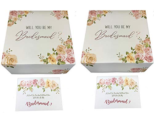 Set of 2 Bridesmaids Proposal Gift Boxes 8x8x4 in, with Rose Gold Foil Letters & Matching Proposal Cards. (2 Bridesmaids, 2)