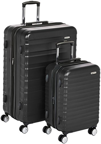 AmazonBasics premium hardside spinner bagage met ingebouwd TSA-slot - 2-delige set (55 cm, 78 cm), zwart