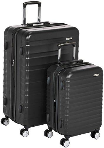 AmazonBasics - Maleta rígida «Hardside» de alta calidad, con ruedas giratorias y cerradura TSA incorporada - Juego de 2 unidades (55 cm, 78 cm), Negro