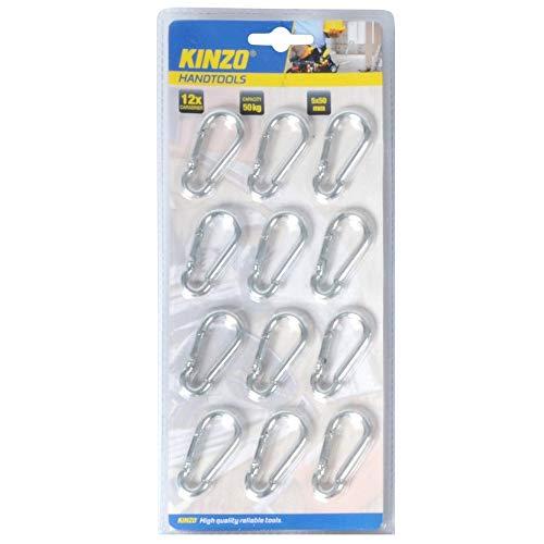WEB world electronic business Lot de 12 mousquetons 5 x 50 mm Kinzo
