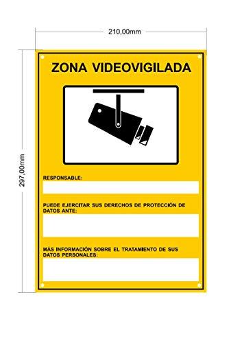 tualarmasincuotas.es Cartel Videovigilancia Rgpd | Placa Zona Videovigilada Interior/Exterior Premium y Ultra-Resistente Metálico, Ultimo Modelo Homologado, 30x21 cm (a4)