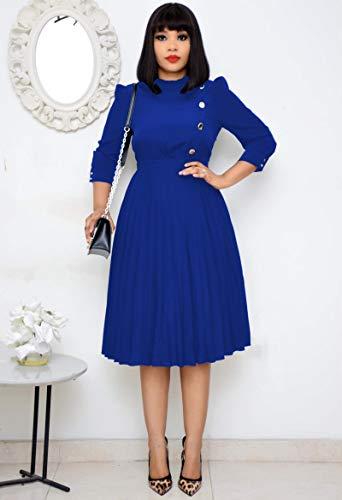 Hübsche Kleid Kleider Dress Damen Frauen Plissee Kleid Hohe Taille Mit Knopf Bescheidene Büro Damenmode Elegante Noble Arbeitskleidung Knielang M Blau