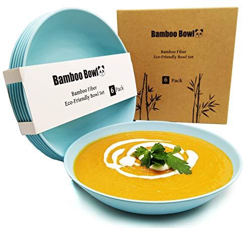 BioBowl© Nachhaltige Suppenteller 6er Set   Große Runde Tiefe Teller für 6 Personen   Pastateller, Salatteller, Suppenschale, Spülmaschinenfest, Geschirr