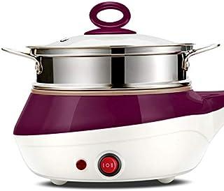 Dormitorio estudiantil Olla Mini huevos de acero inoxidable vapor de la caldera Sartén eléctrico multifunción Horno de cocina olla de cocina filete frito sartén (Color : Purple)