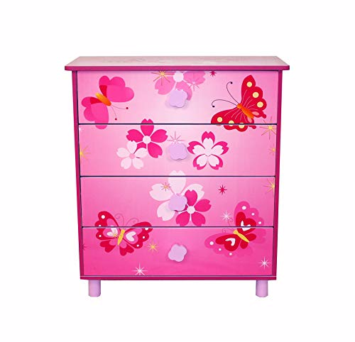 Homestyle4u 647, Kinderkommode Schmetterling Blumen, Kinderschrank mit 4 Schubladen für Kinderzimmer, Holz, Pink Rosa
