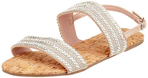 Dorothy Perkins W: Funk Double Strap Embellished Sandal, Bride Cheville Femme, Argenté (Silver 600), 41 EU