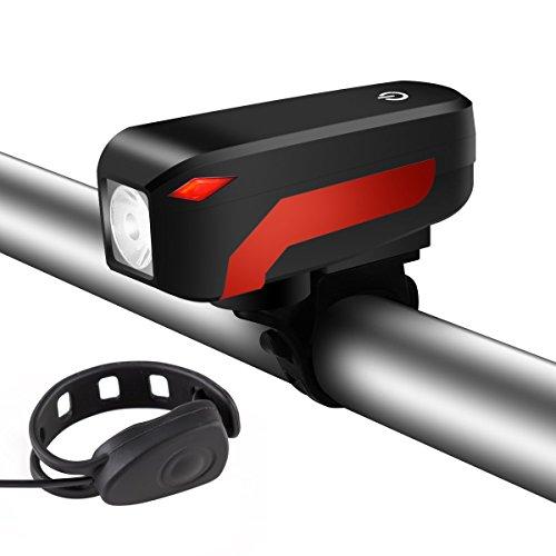 Luz Trasera para Bicicleta Recargable USB, SGODDE Ultra Brillante Cuatro Modo Luz Delantera + Altavoz de 140 db, Fácil de Instalar y Se Ajusta a Cualquier Bicicletas de Carretera, Azul