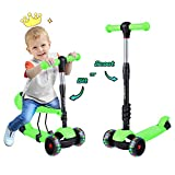 Yoleo Kids Scooter, 3 in 1 Flashing Wheels Kick Scooters for Kids with Removeable Comfortable Seat for Toddler, Adjustable Height Scooter for Kids Age 2 3 4 5 6 7 8 9 10