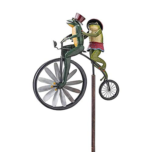 SOBW Garten Dekoration Vintage Fahrrad Metall Wind Spinner mit Stehpol Garten Garten Rasen Dekoration, gartendeko Frosch