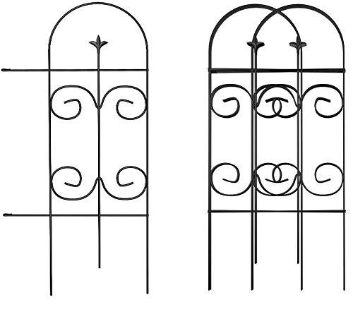 Amagabeli 81CM X 38CM X 8 Stück Gartenzaun Metall Zaunelementen Gartenzäune Dekorative Zaun Gartenzaun Klein Metall
