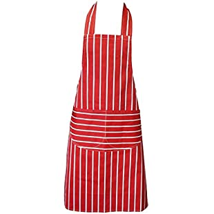 Customer reviews Chefs Apron, Red, Kitchen Apron, Double Pockets, Machine Washable, Suitable for Domestic and Professional Purposes