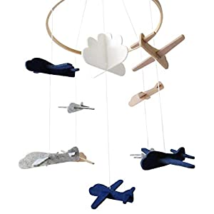 Sorrel and Fern Baby Crib Mobile Airplanes and Cloud Nursery Grey and White Decoration for Boys Ceiling Mobile